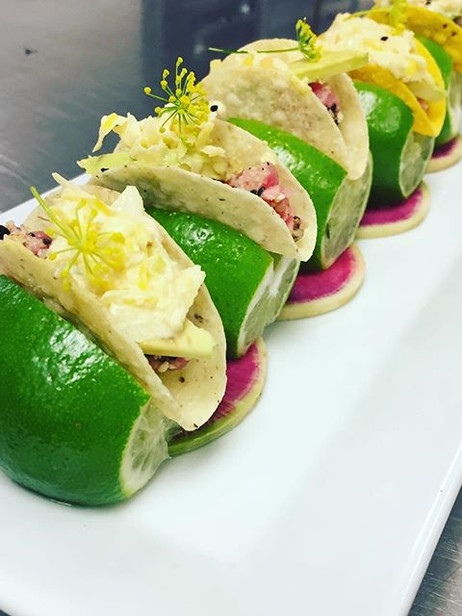 Tuna and citrus ceviche mini tacos garni