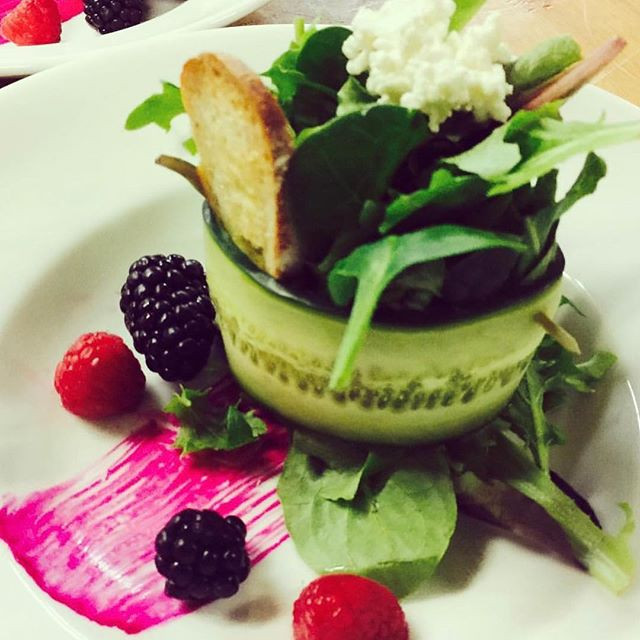 Winter salad with a macerated berry sauc