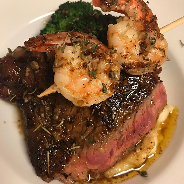 Seared Ribeye, garlic butter poached shr