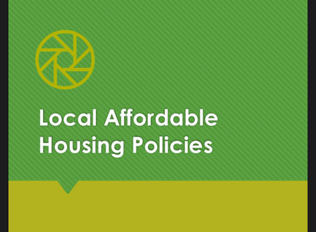 More Local Government & Community Engagement: Local Affordable Housing Policy