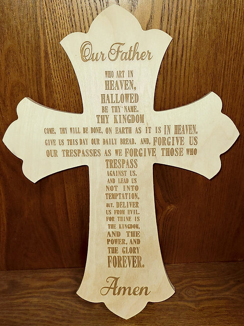 Engraved Cross with the Lord's Prayer