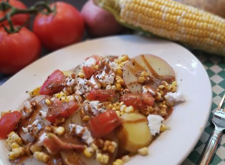 Summer Vegetable Potato Salad with Balsamic Glaze