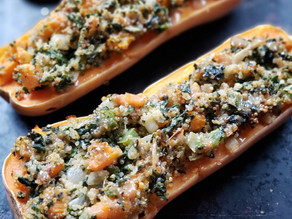 Stuffed Butternut Squash with Maple Dijon Glaze