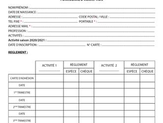 Formulaire d'inscription pour les activités 2020/2021