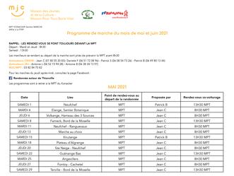 Programmes de Marche Mai/Juin 2021