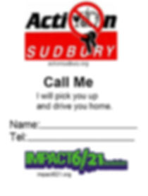 Call Me Cards to reduce impaired driving by always havng a contact readyto driveyou home.