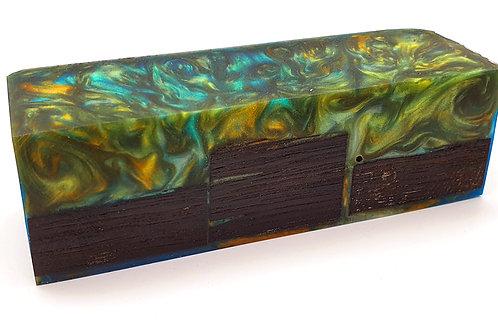 Stabilised Bog Oak Blue/Green/Orange