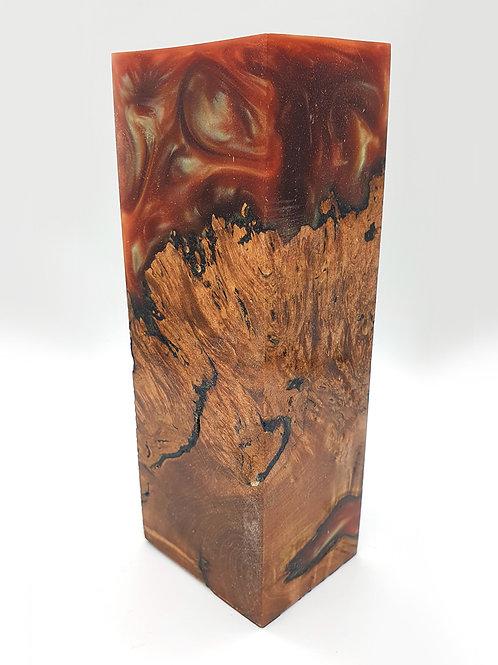 Stabilised Maple Burr Block with Chameleon Colours