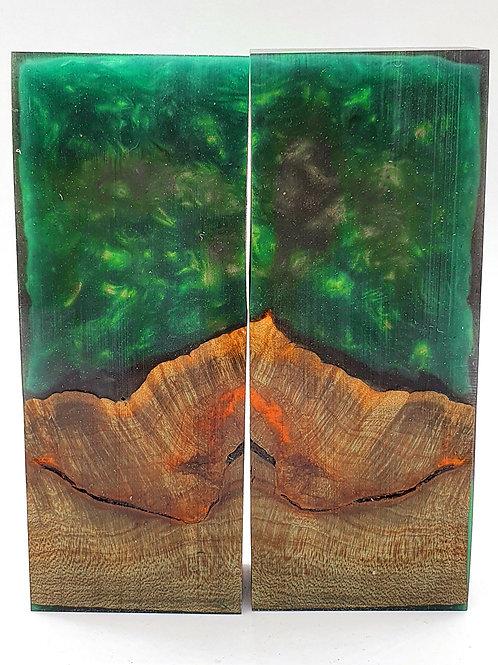 Stabilised Field Maple Emerald Green Resin Hybrid Knife Scales