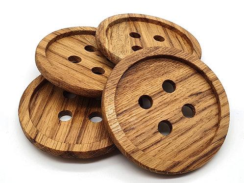 Brown Oak Button Coasters