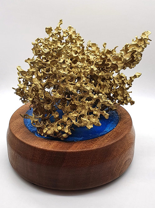 Brass Coral Atop a Sapele Base