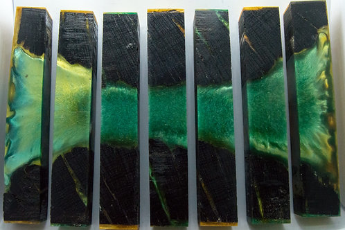 Stabilised Bog Oak with Green and Gold