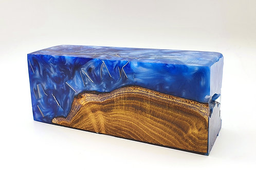 Stabilised Acacia Burr with Blue & White
