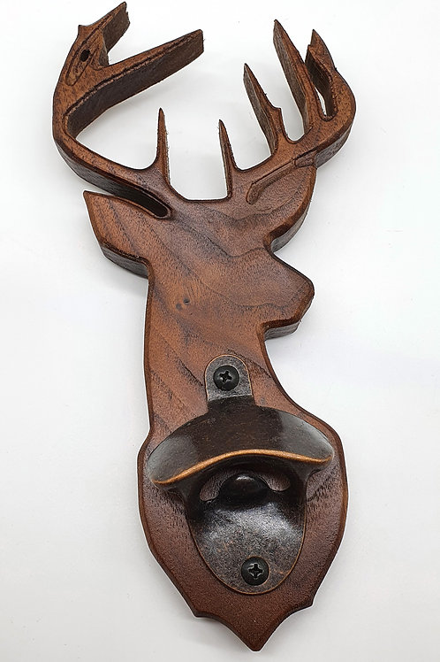 Walnut Stag Head Bottle Opener