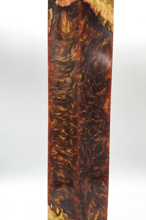 Stabilised Acacia Burr with Red/Gold Large Snooker Cue Blank