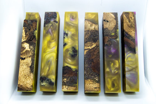 Stabilised Oak Burr with Purple and Yellow