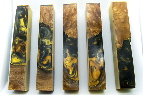 Stabilised Burr Elm with Black and Gold
