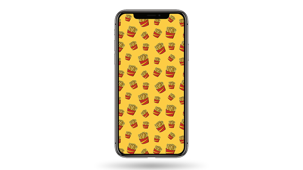 French Fries Pattern High Resolution Smartphone Wallpaper