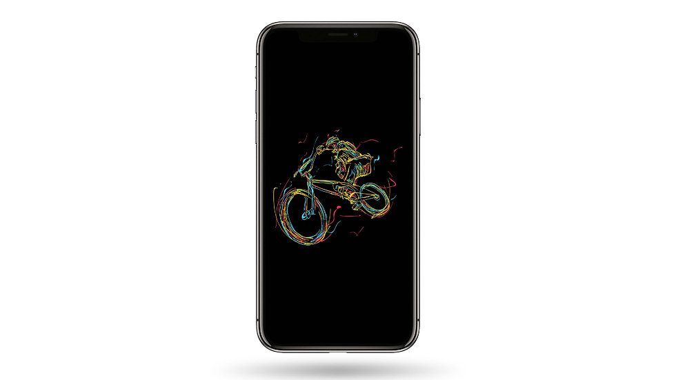 Neon Lines Bicycle High Resolution Smartphone Wallpaper