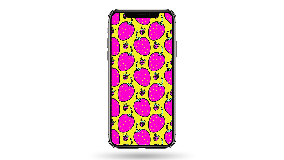 Strawberry Doodle Pattern High Resolution Smartphone Wallpaper