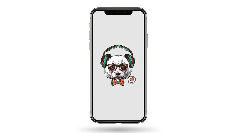 Hipster Panda High Resolution Smartphone Wallpaper