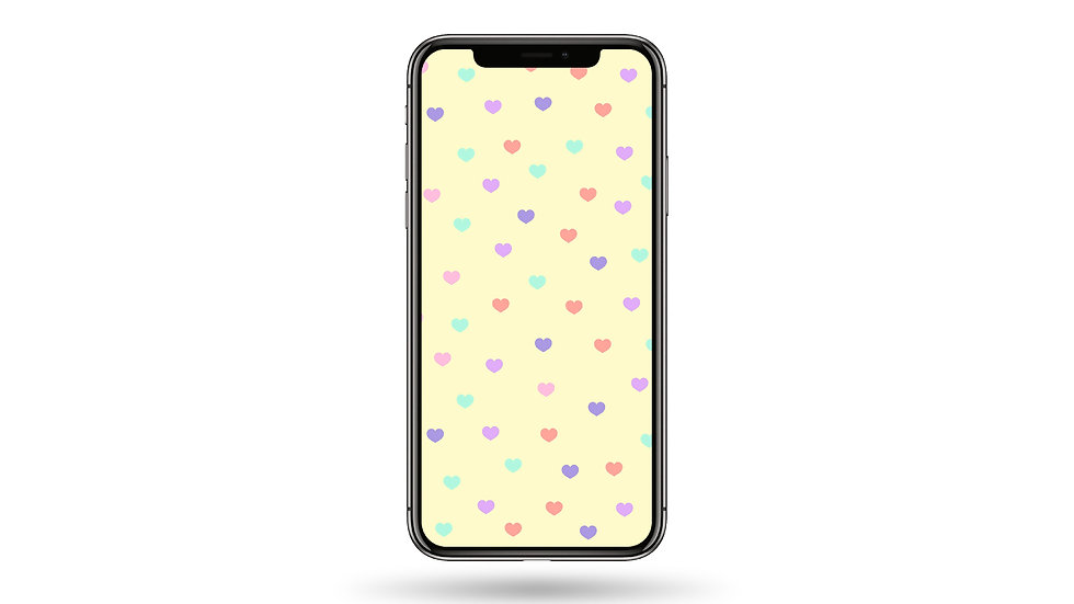Pastel Heart Pattern High Resolution Smartphone Wallpaper