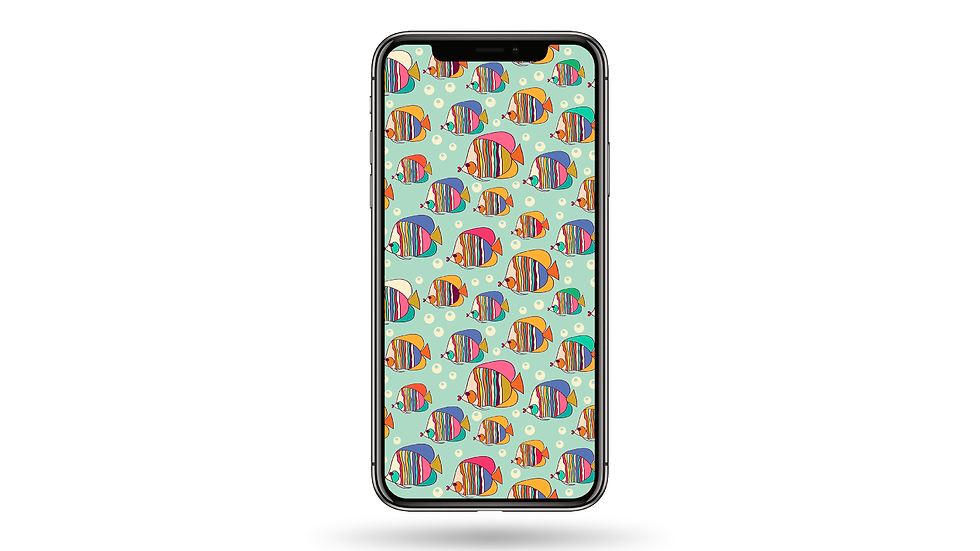 Colourful Fish Doodle High Resolution Smartphone Wallpaper