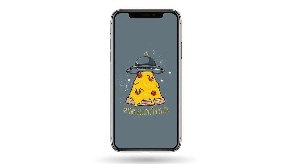 Aliens Believe In Pizza High Resolution Smartphone Wallpaper