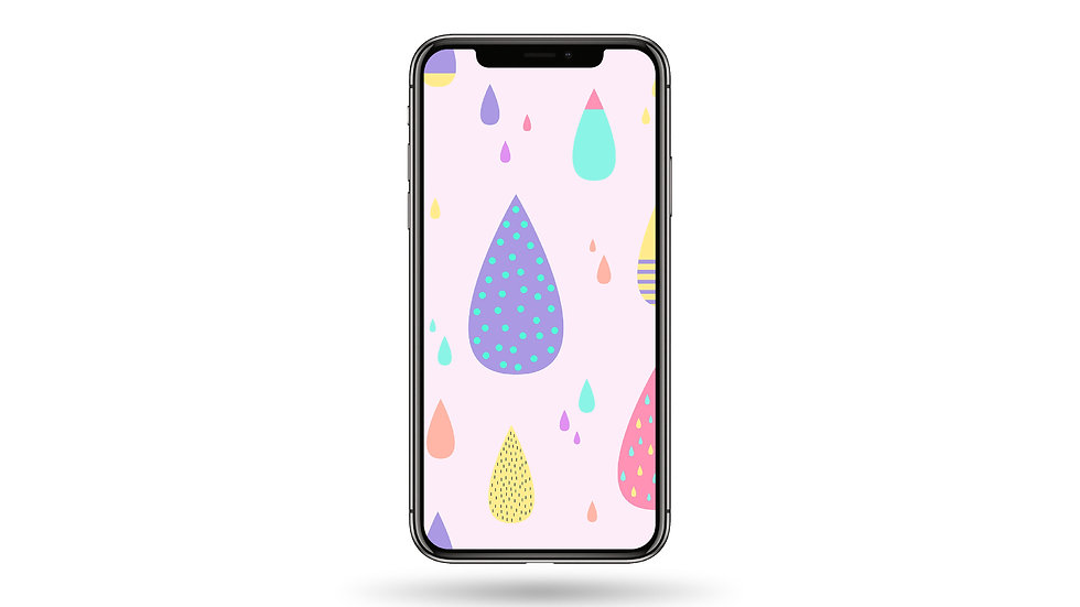Pastel Raindrop Doodle Pattern High Resolution Smartphone Wallpaper
