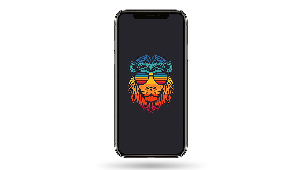 Colourful Hipster Lion High Resolution Smartphone Wallpaper
