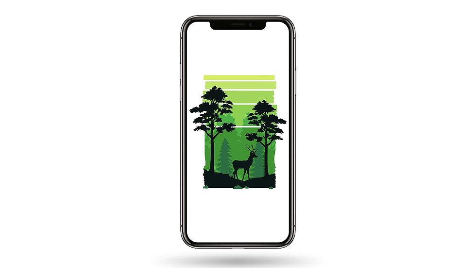 Jungle Deer Silhouette High Resolution Smartphone Wallpaper