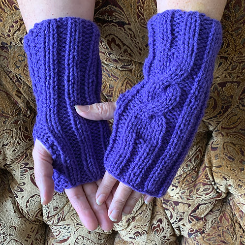 Fingerless Mitts, Adult Long Cable