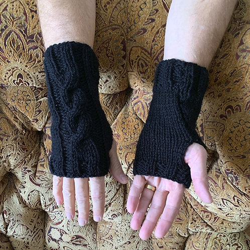 Fingerless Mitts, Adult Long Cable, Wool