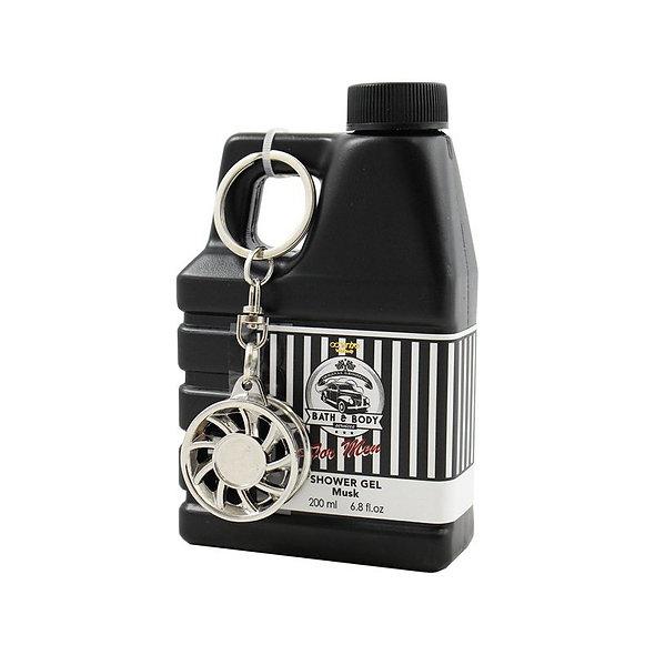 Gel douche bidon d'huile et porte clés