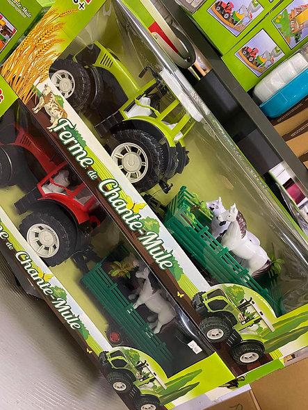 Tracteur avec remorque et 2 annimaux