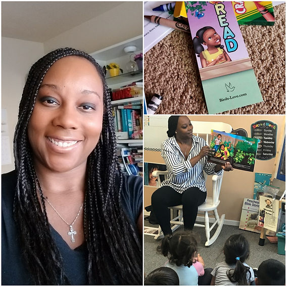 Starr Balmer-Chore, author of Scary, Scary Sasha and owner of Bird's Love. Starr Balmer-Chore is reading to children at Happy Harbor Christian School in Wilmington, CA. A Scary, Scary Sasha bookmark is shown.