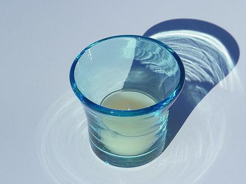 琉球グラスとティーライト Handmade Ryukyu Glass Blue with scented tea lights