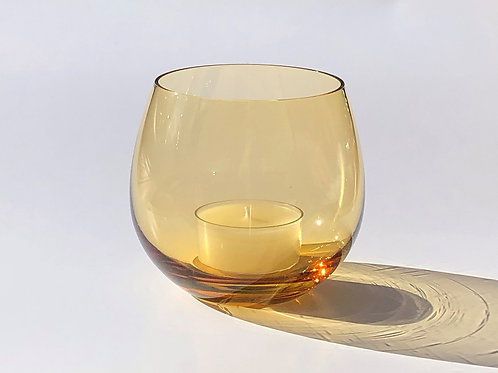上越グラスとティーライトHandmade Japanese Glass Citrine with scented tea lights