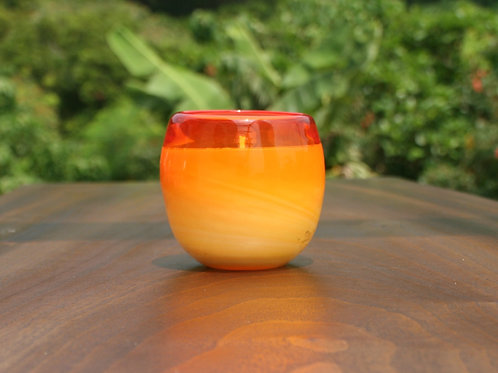 ヤエヤマジャスミン琉球グラスYaeyama Jasmine, orange Ryukyu glass candle