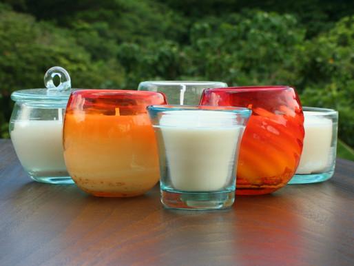 Yaeyama Candle Series; with beautiful Ryukyu handmade glass from Okinawa, Japan
