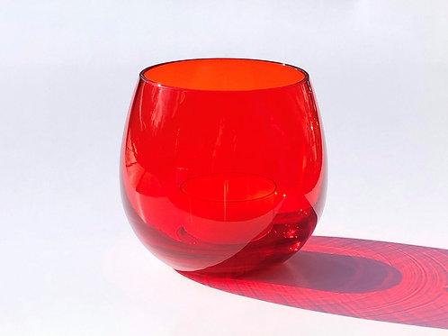 上越グラスとティーライトHandmade Japanese Glass Ruby with scented tea lights