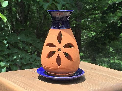 青と茶色のキャンドルホルダー Blue and brown candle holder