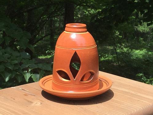 茶色のキャンドルホルダーBrown glazed candle holder