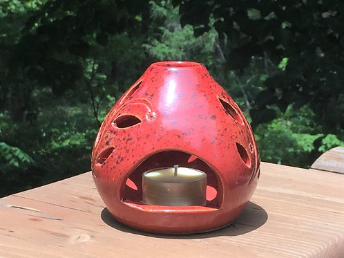 赤いグローブキャンドルホルダー Red globe candle holder