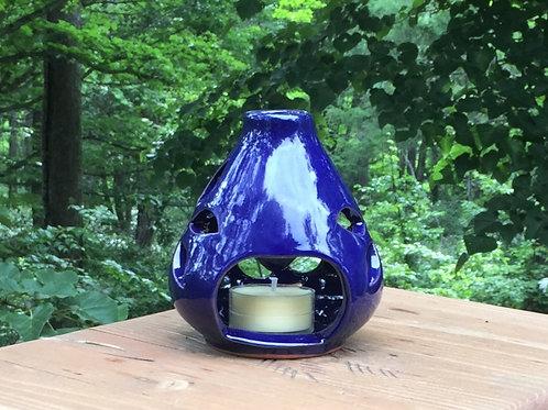 ブルーキャンドルホルダー Blue glazed candle holder