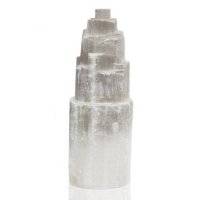 Natural Selenite Tower Lamp - 20 cm