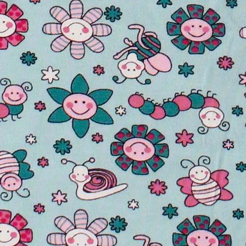 Baumwolljersey Blumen und Tiere