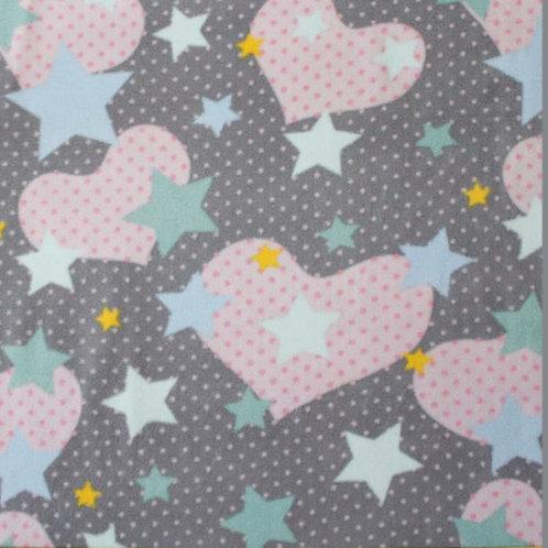 Polarfleece Herzen / Sterne grau