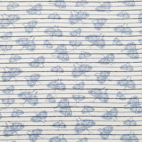 Feinripp Bündchen Schmetterlinge hellblau/weiß