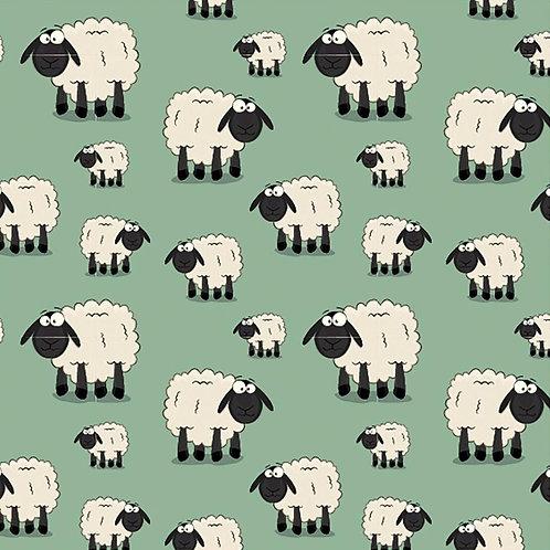 Baumwolljersey lustige Schafe mintgrün